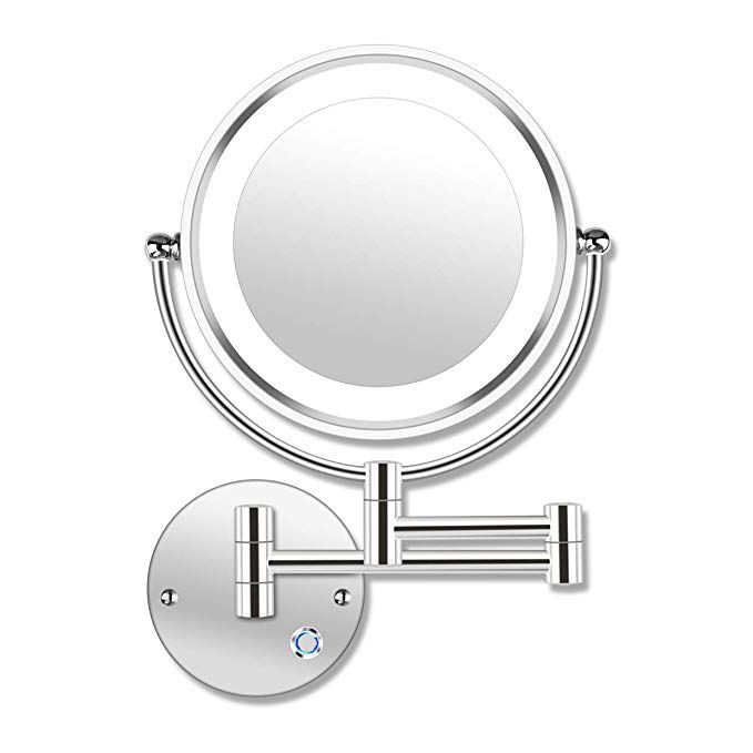 Amnoamno 8 5 Led Double Sided Swivel Wall Mount Makeup Mirror 10x
