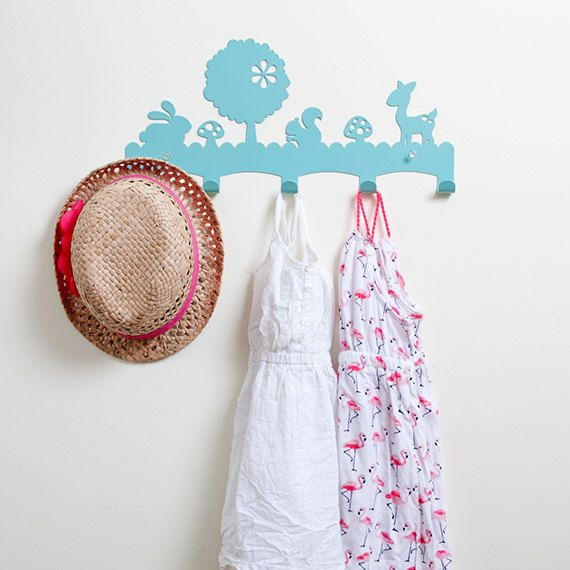 Woodland  Coat Rack / Nursery Wall Hanger / Kid's Coat Rack / Kid's Room Hooks / Wall hook rack