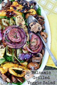 Balsamic Grilled Vegetable Salad by thefitfork #Salad #Grilled_Veggies #Healthy