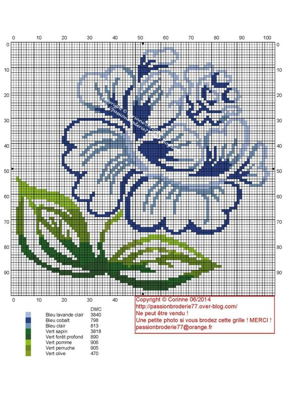 Minimalist blue rose cross stitch pattern