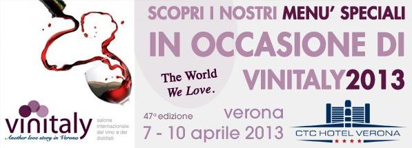 Quattro serate dedicate al grande evento internazionale Vinitaly 2013! Scopri l'offerta del BEST WESTERN CTC Hotel Verona!
