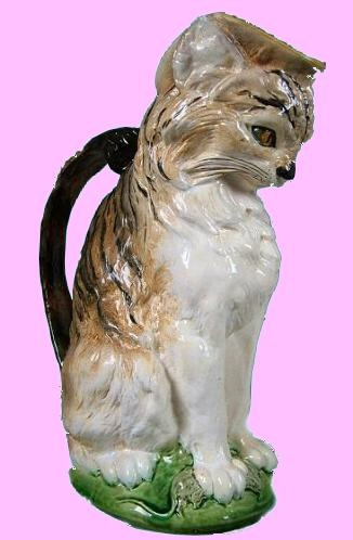 Majolica cat pitcher: Unreal Cats, Cat Things, Cat Pitchers, Cat Decor, Collection Cat, Majolica Cat