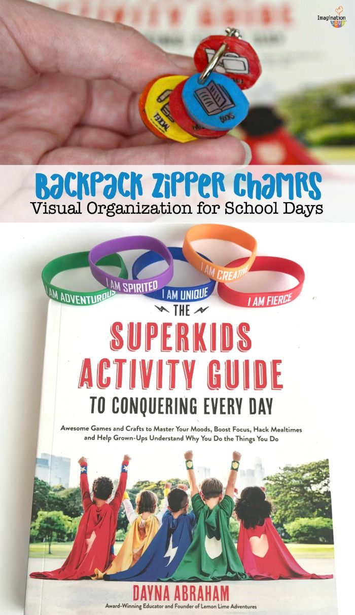 Fun backpack zipper charms activity from The Superkids Activity Guide to Conquering Every Day by Dayna Abraham