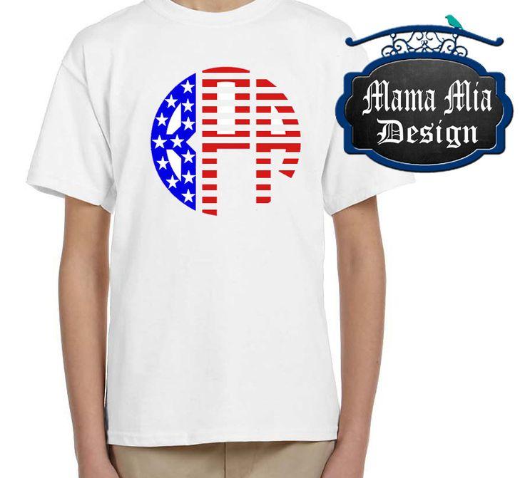Youth Shirt, American Flag Monogram Shirt, Flag Monogram Shirt, Flag Shirt, 4th of July Shirt, Personalized Flag Shirt, Patriotic shirt by MamaMiaDesign on Etsy