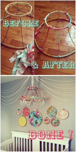 Fabric Hoop Wall Art - no lamp shade. Maybe put a letter of her name inside each hope spelling her name out :)