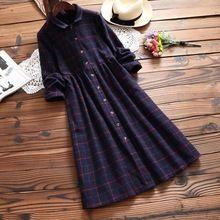 Camisa a cuadros de primavera casual sweet dress de las mujeres gira el collar abajo de un solo pecho de algodón gruesa mujer vestido vestidos t237(China (Mainland))