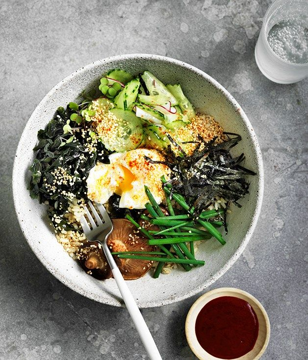 This bibimbap-inspired rice bowl is packed with umami thanks to the addition of thinly sliced nori and gochujang, Korea's fermented chilli pickle.