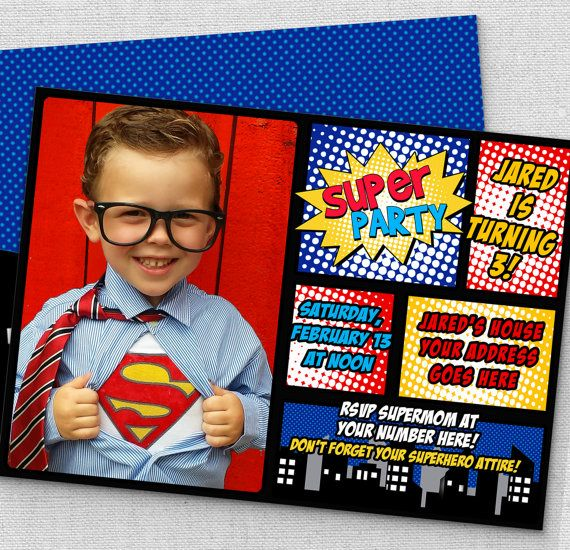 superhero invitation, FAST customization, same day customized on weekdays…