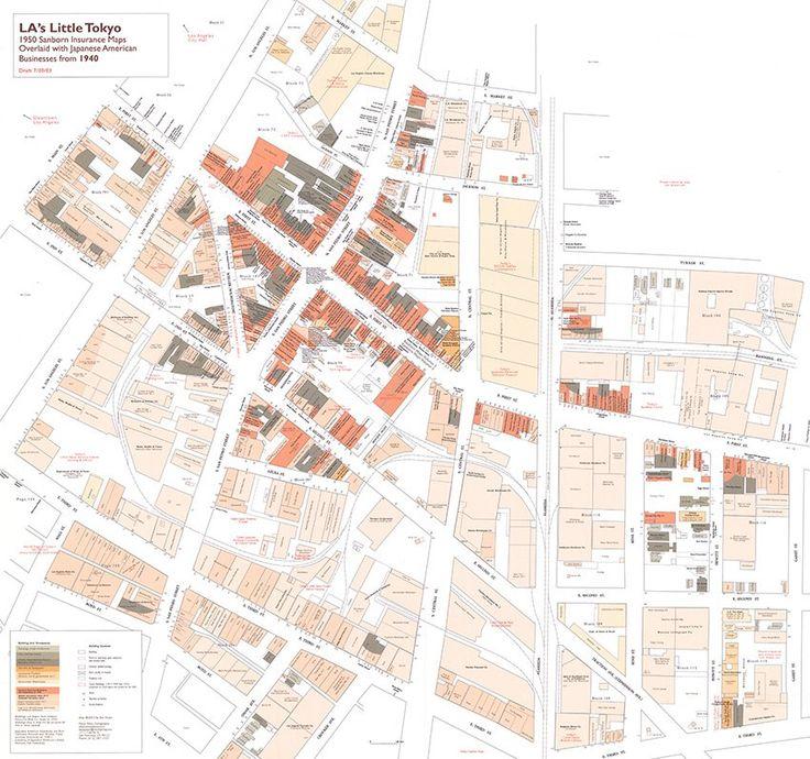 LAs Little Tokyo 1950 Sanborn Insurance Maps Overlaid