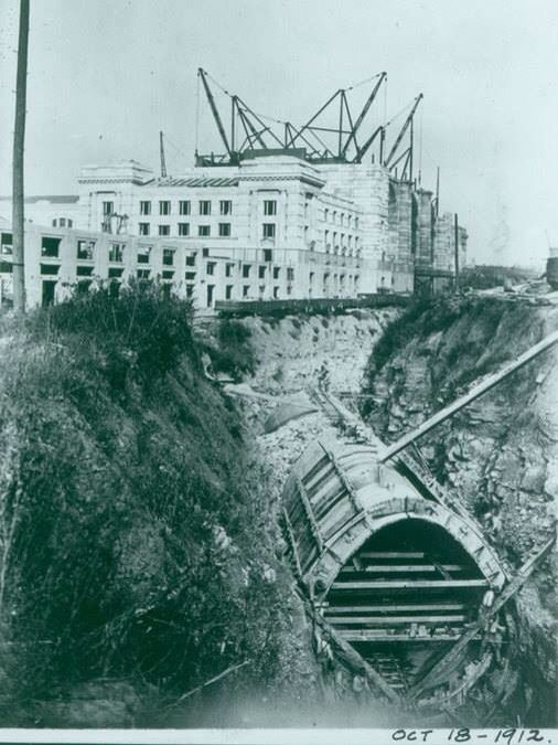 Union station construction. Underground tunnel that ...