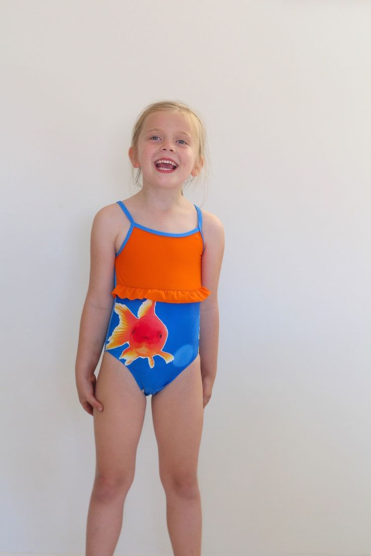 Girls one piece bathing suit with goldfish and orange frill. by LaLaLaDesigns on Etsy