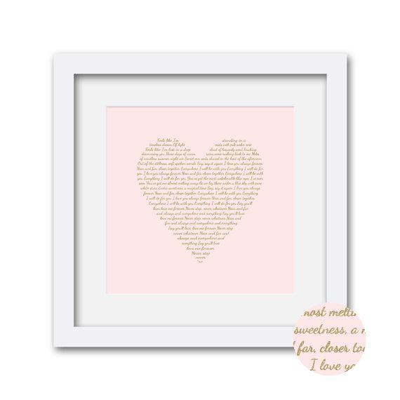Personalized Wedding Lyrics Framed Typography Art, Pink & Gold, First Dance Wedding Song Art, Custom Anniversary or Wedding Gift