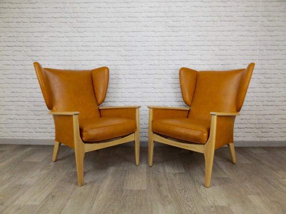 Vintage Pair of Parker Knoll Wingback Armchairs - Mid Century Tan Vinyl Upholstery