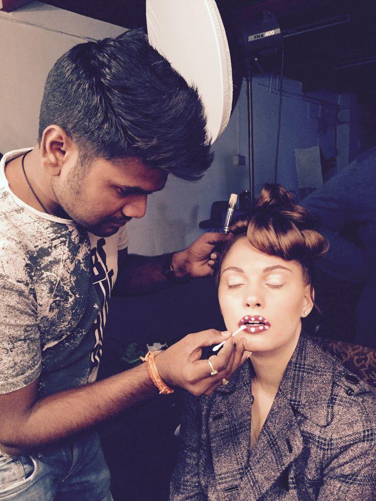 High Fashion look #karansingh #russian #red #Lipstick #plumping #Lips#White dot #Natural eyes#creat by #Karansingh #Magazine #Shoot #Loveart ....!!! www.karanmakeupartist.com