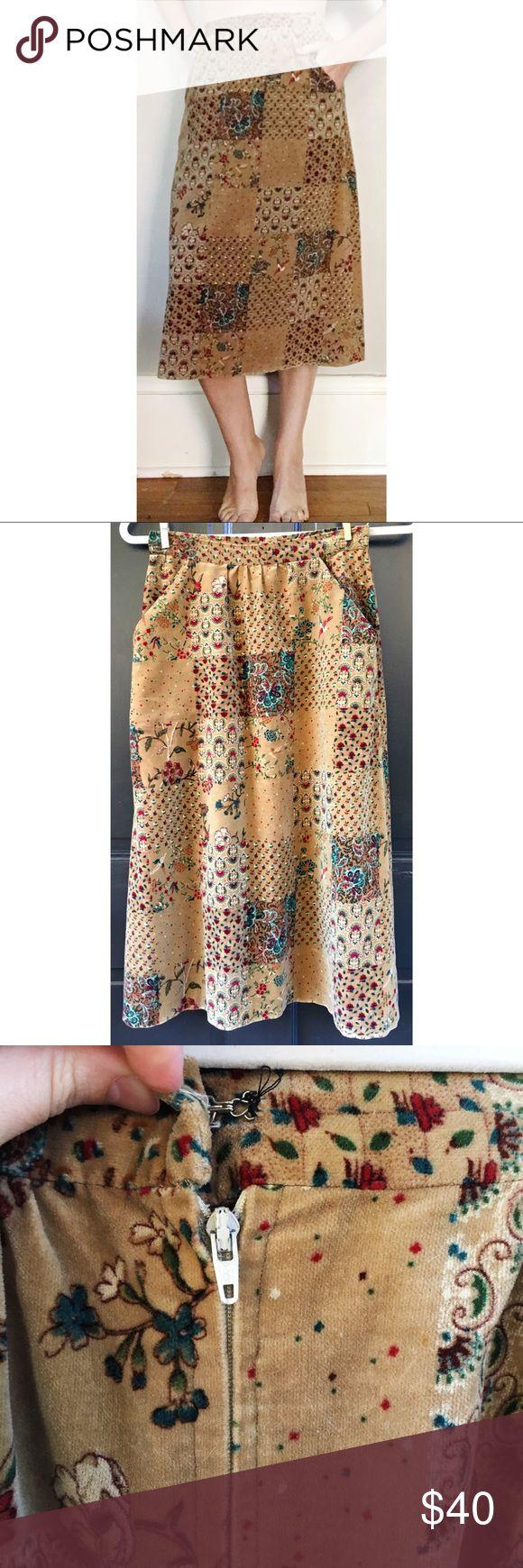 "Vintage 70s Velvet Patchwork Print Skirt XS ITEM: 70s Velvet Patchwork Print Skirt BRAND: Label missing COLOR: Camel SIZE: No size label CONDITION: excellent  MATERIAL: Velvet  MEASUREMENTS: 29 long, fits 25"" waist Vintage Skirts"