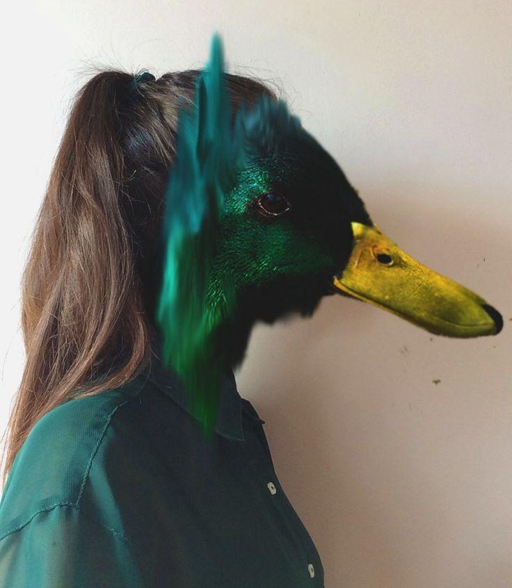 Human duck hybrid based on Charlotte Caron's work