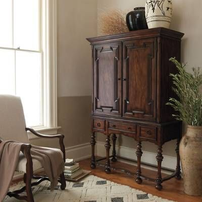 While the rich details of our exclusive Cabrillo Hutch belong to another age, its modest size and sophistication belong anywhere in your home. This    stunning Mediterranean-inspired composition is made from solid mahogany, with turned legs, a delicately shaped apron and carved paneling on the doors and    drawer fronts.            The multi-purpose piece has two adjustable shelves and one fixed lower shelf in the cabinet                Outfitted with a media hole for easy wire management...