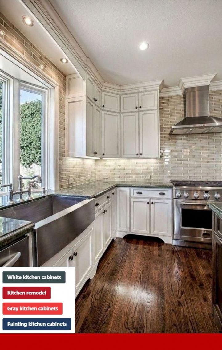Grey Kitchen Cabinets With Red Accents