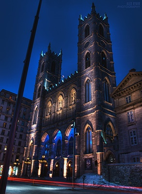 Notre-Dame Basilica is located in the historic district of old Montreal, Canada.