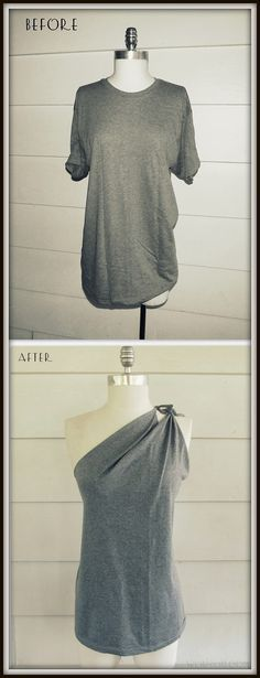 Easy and cute way to change a boring old tshirt using only scissors! Love this idea