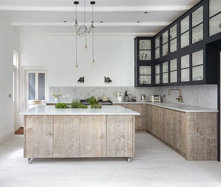 London Victorian, Kitchen with Whitewashed Floors and Reclaimed Wood Cabinets