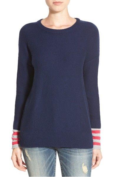 Main Image - Caslon® Contrast Cuff Crewneck Sweater (Regular & Petite)