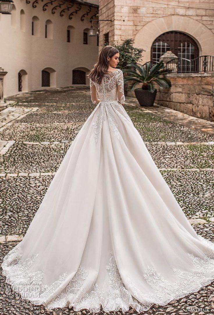Long dresses for wedding reception  naviblue  bridal long sleeves illusion off the shoulder