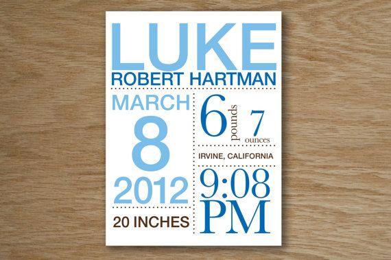 CUSTOM Modern Birth Announcement Poster 11 x 14 by brandnoonan, $25.00