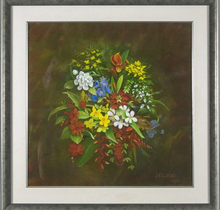 Tropische bloemen, 2011  Olieverf op paneel, afmeting 60 x 60 cm  Een bloemenarrangement van tropische bloemen als heliconia (rood met oranje), hibiscus (rood) en frangipani (geel en wit). Het schilderij is gemaakt naar aanleiding van een reis van de schilder naar Bali in 2011 en is gebaseerd op eigen foto's en meegebrachte boeken. Het werk is gemaakt op paneel en niet zonder reden. Het materiaal is glad en zorgt ervoor dat de vegen goed tot hun recht komen.