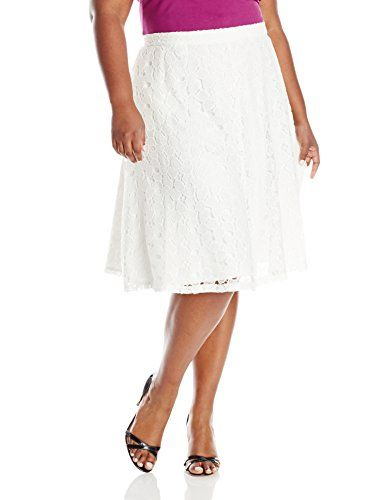 Calvin Klein Womens PlusSize Lace Midi Length Skirt Soft White 18W >>> You can find out more details at the link of the image.