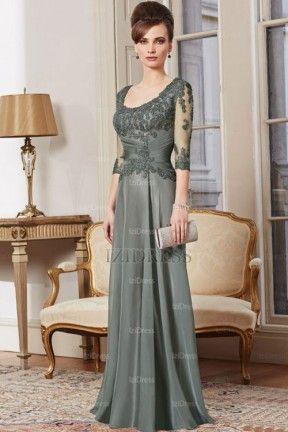 Sheath/Column Scoop Lace Chiffon Sweep/Brush Train Evening Dresses - IZIDRESSES.COM at IZIDRESSES.com