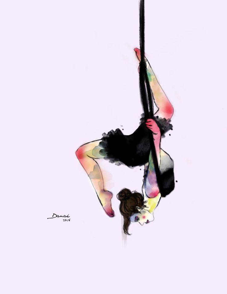 Aerial hoop Digital illustration, circus inspiration