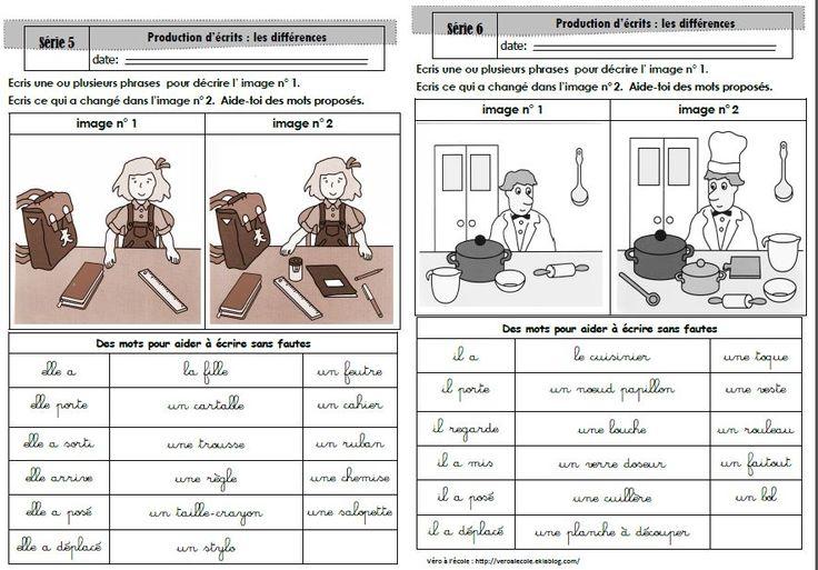 Production écrit CP : décrire et comparer des images - Véro à l'école