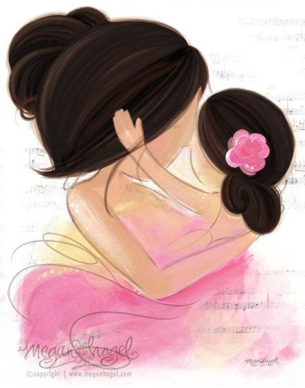Would love this print - no text /Mother Daughter with Black Brunette Hair Nursery Gift Wall Art Print on Etsy, $18.00
