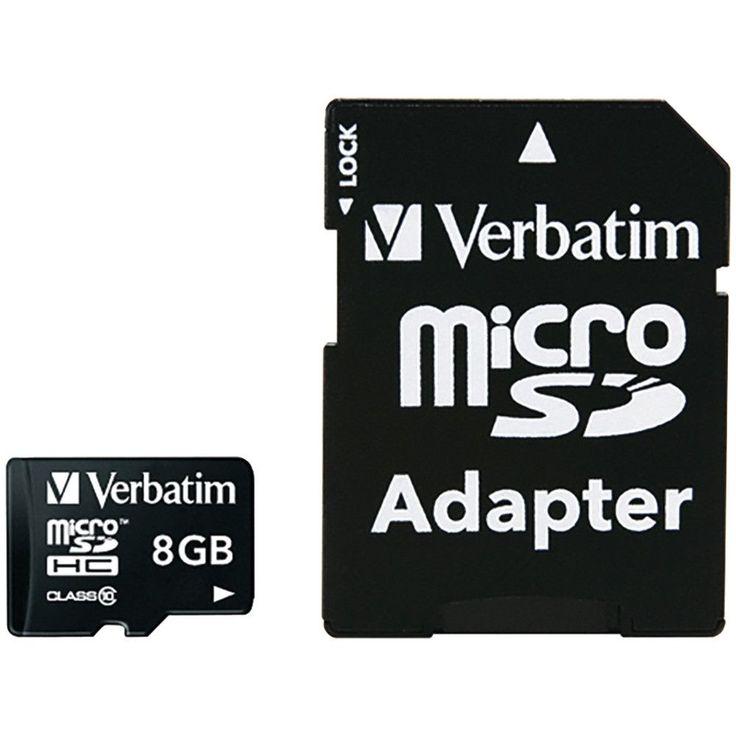 Verbatim Microsdhc Card With Adapter (8gb; Class 10))