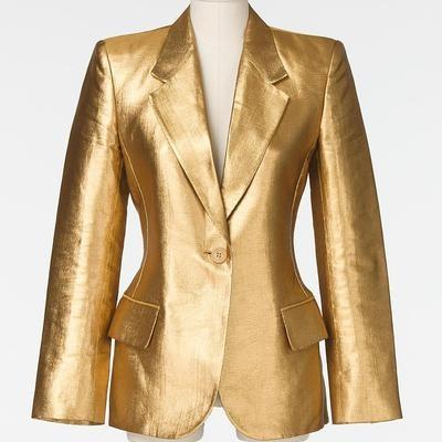 Amber Rose Yves Saint Laurent Metallic Gold Blazer