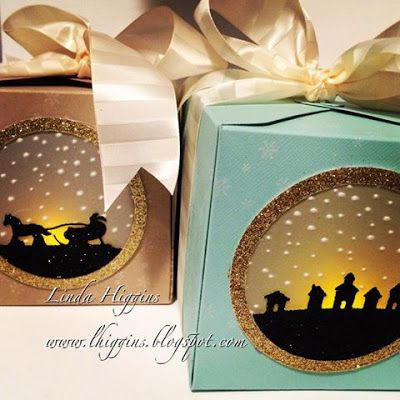 Sleigh Ride Edgelits, Gift Box Punch Board, Black & Gold Glimmer Paper, Vellum, Softly Falling EF, Circles Collection Framelits, tealight - The Grand Vacation Achiever's Blog Hop and bonus Video Tutorial 11/26/2015