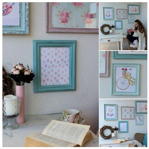 Vintage old frames makeover to shabby new ones with dekor paint soft - country blue and victorian pink.  :::::: Staré rámy premaľované farbami Dekor Paint Soft (www.tvorivysvet.sk). Odtieňmi Country modrá a viktoriánska ružová. Patinované a voskované. V predaji ako sada: http://www.sashe.sk/HaM/detail/little-old-town