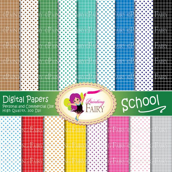 SALE Digital papers Fun School backgrounds Colorful paper pack School Rainbows polka dot square grid DIY Personal & Commercial Use pf00037-1 * Supplies Scrapbooking Paper paper goods papers scrapbooking paper back to school paper girls boys kid kiddy teaching education children card making teacher pink supply primary elementary coordinating papers green orange yellow learning printable blue back to school red purple preschool