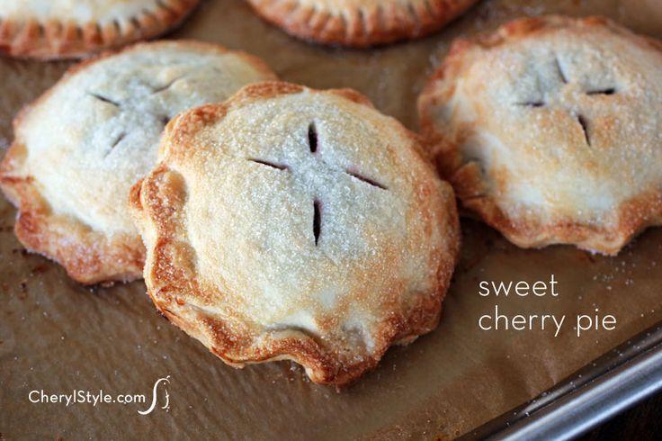Sweet cherry hand pies recipe using premade pie crust at http://cherylstyle.com