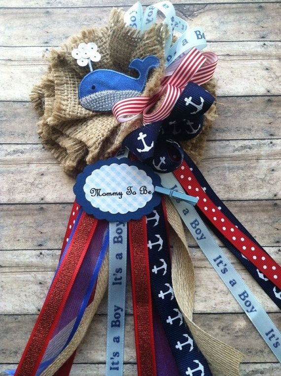 Whale Mommy To Be Corsage Whale Nautical by AlittleSweetBowtique