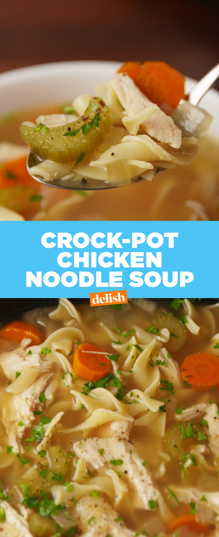Crock-pot Chicken Noodle Soup is hands-down the easiest way to make this classic. Get the recipe at Delish.com.