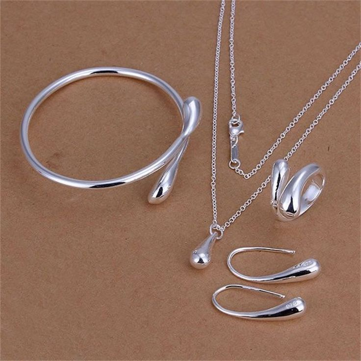Factory Price Top Jewelry Silver Plated Drop Jewelry Sets Necklace Bracelet Bangle Earring Ring Women Jewelry Set  -- Find similar products by clicking the VISIT button