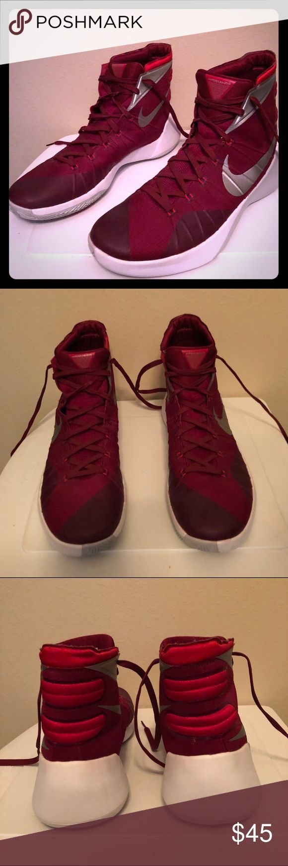 Nike Hyperdunk Red high top basketball shoes Look new! Check out the pictures! Nike Hyperdunk Red Silver Basketball High top shoes Nike Shoes Athletic Shoes