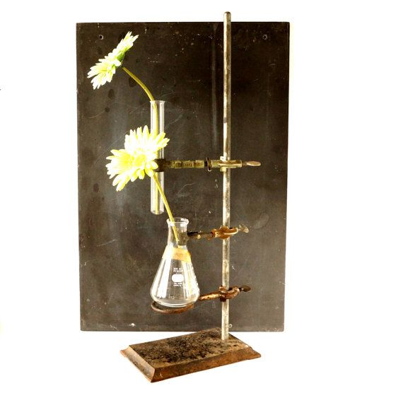 Vintage / Antique Industrial Cast Iron Lab Stand with 2 clamps, ring, flask, and glass test tube (large stand) by ThirdShift, $198.00 - Industrial vase, Halloween Party or Mad Science Party decor.