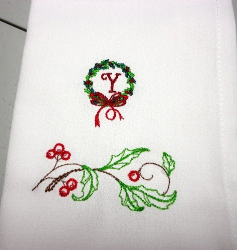Holly Wreath White Christmas Napkins Monogrammed Initial