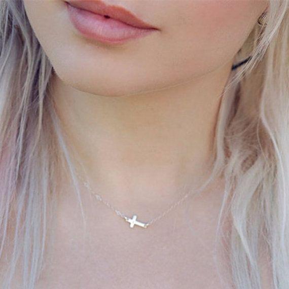 Black friday: Sideways Cross Necklace Jewelry Cross by FunIsStyle