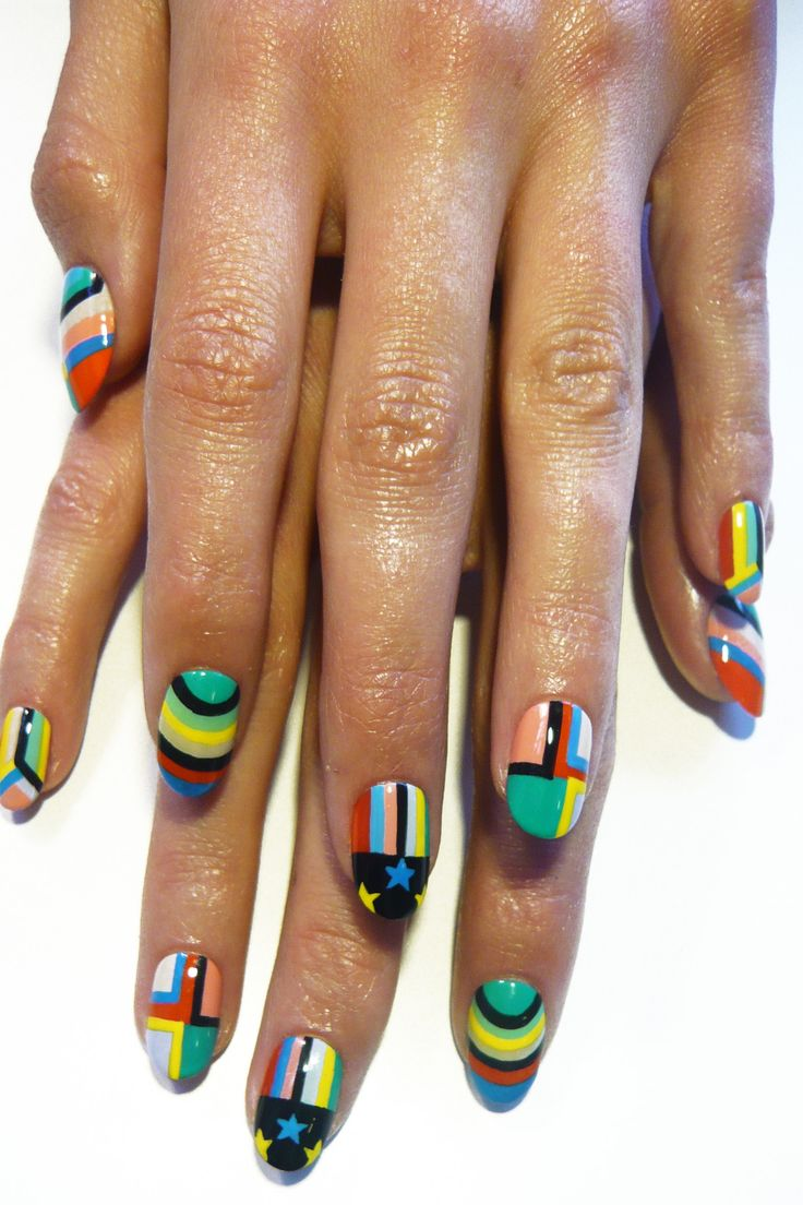 .Primary Colors, Madeline Pools, Nails Art, Nailart Nails, Nails Hair, Melody Ehsani, Geometric Nailart, Hair Nails Facs, Pattern Nails