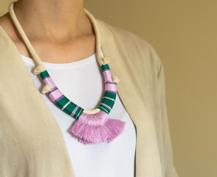 Boho necklace | #deuxsoray #ds #necklace #tassel #tasselnecklace #rope #ropenecklace #handmade #jewelry #purple #ropejewelry #etsy #seller #original #design #sisters #two