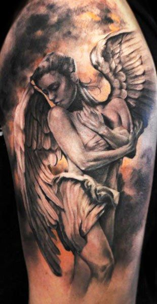 Realistic Angel Tattoo On Shoulder For Men